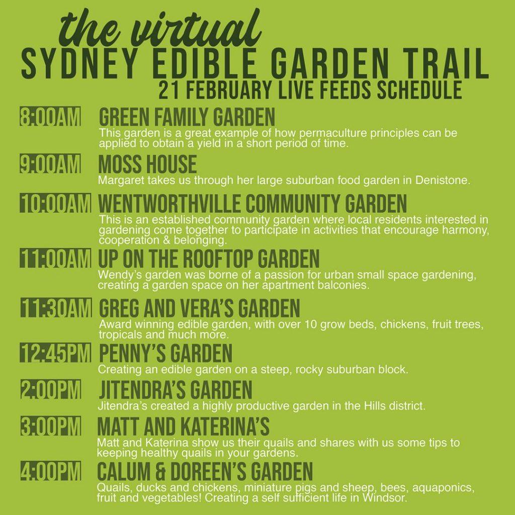 Sydney Edible Garden Trail - virtual day 1 schedule
